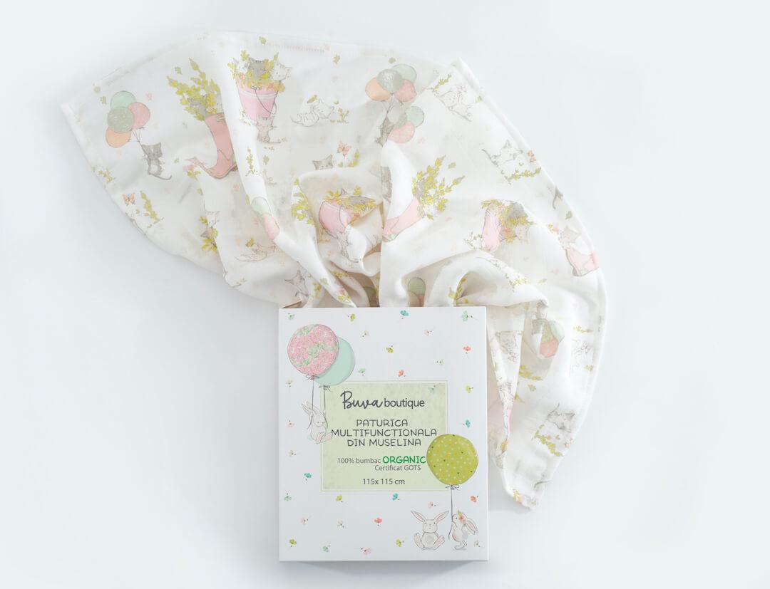 Mousseline pour bébé et sa boîte Buva Boutique