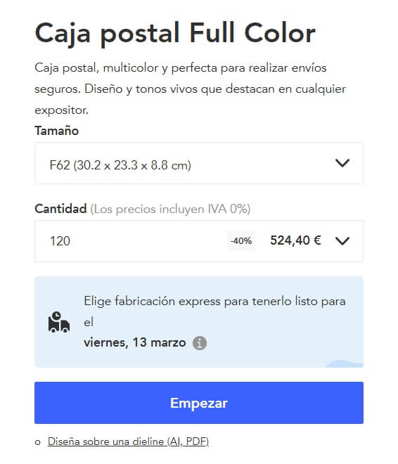 editor de packaging de Packhelp