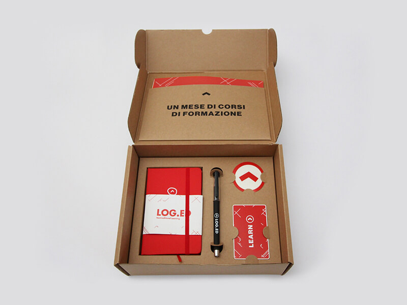 Idee welcome kit kraft e rosso