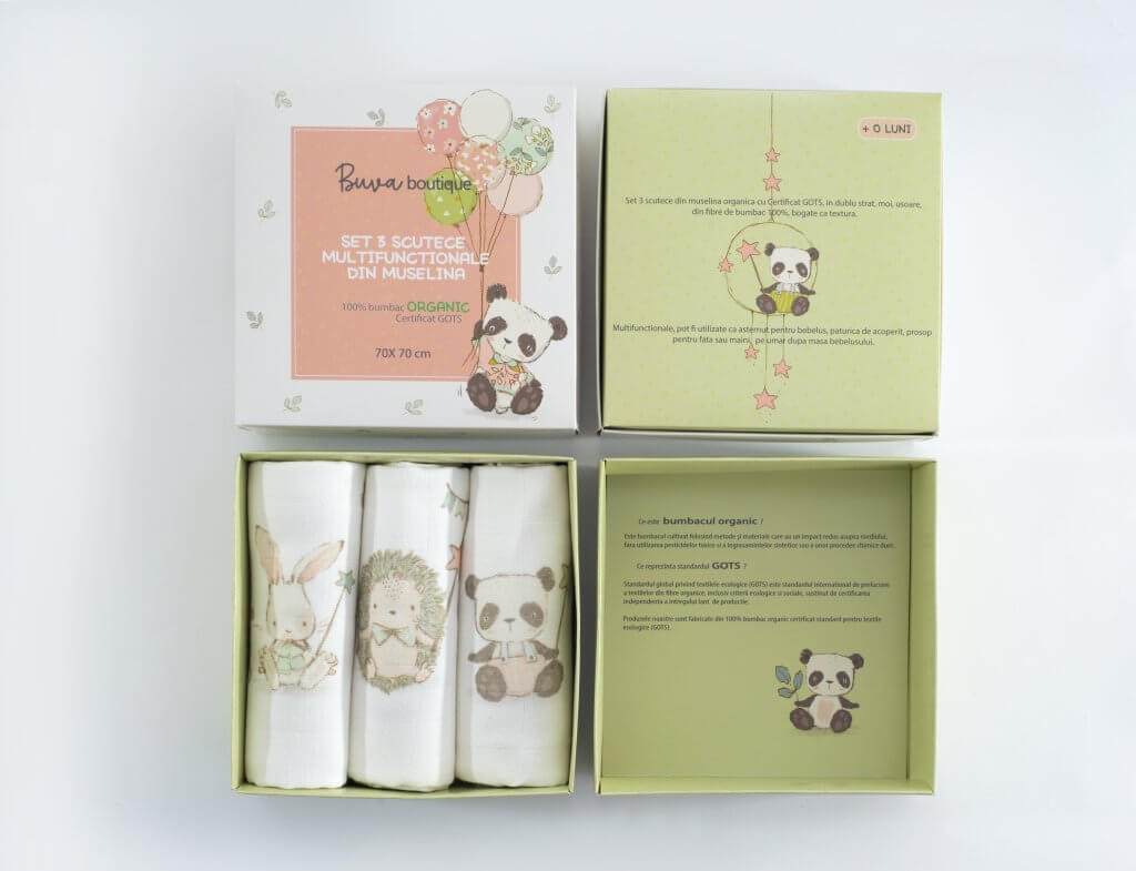 2 piece product boxes for organic muslin