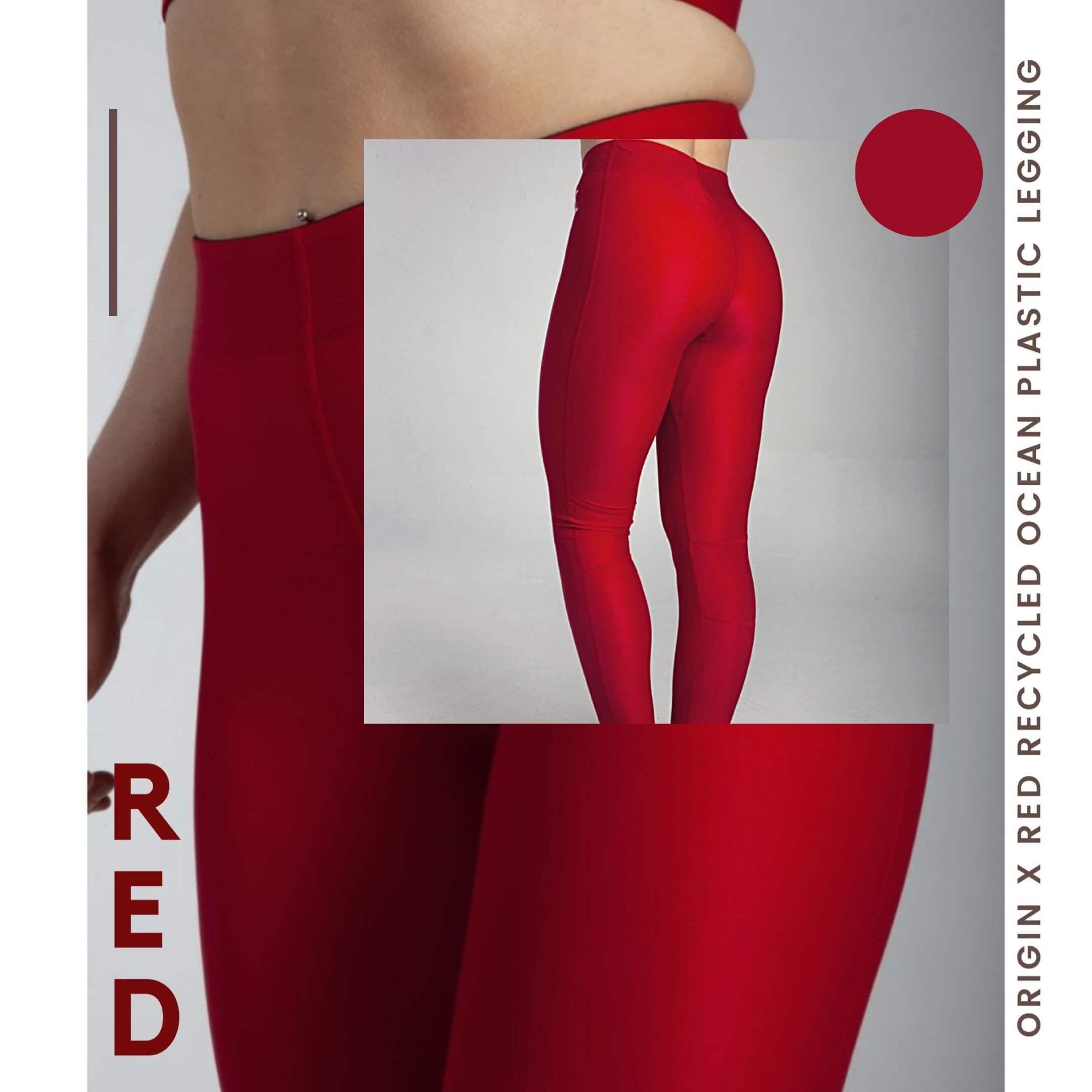 Leggings rouges de la marque éco-responsable Origin X Performance