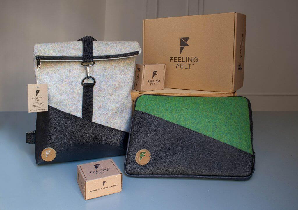 feeling felt backpack and laptop sleeve with packaging