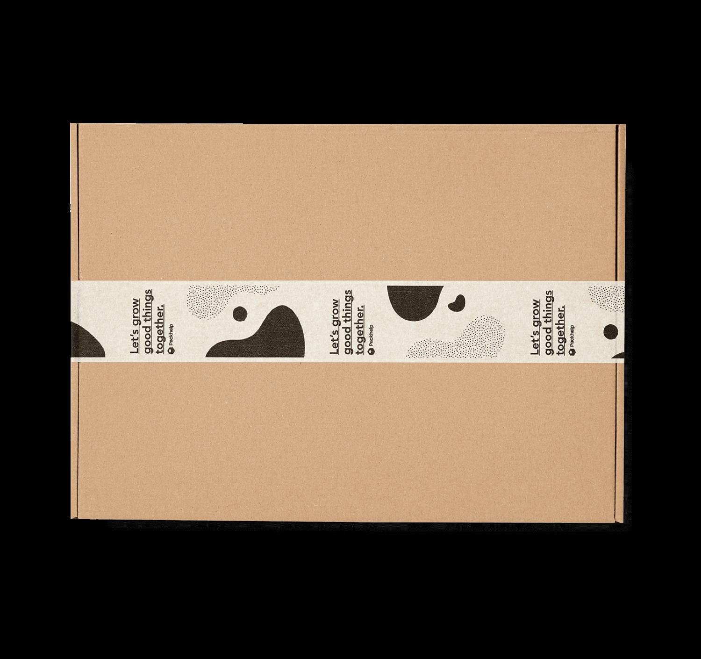caja postal de cartón con cinta adhesiva