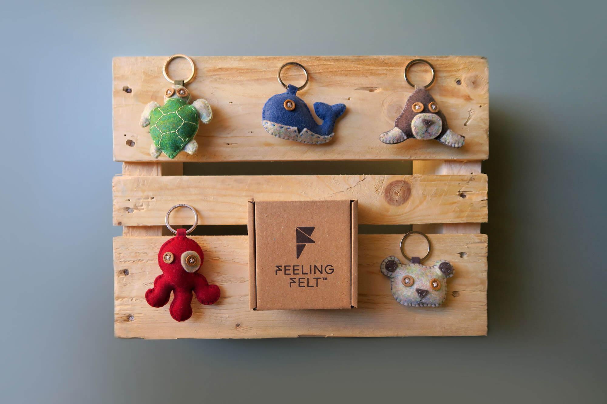 Collection de porte-clés symbolisant des animaux en risque d'extinction de Feeling Felt