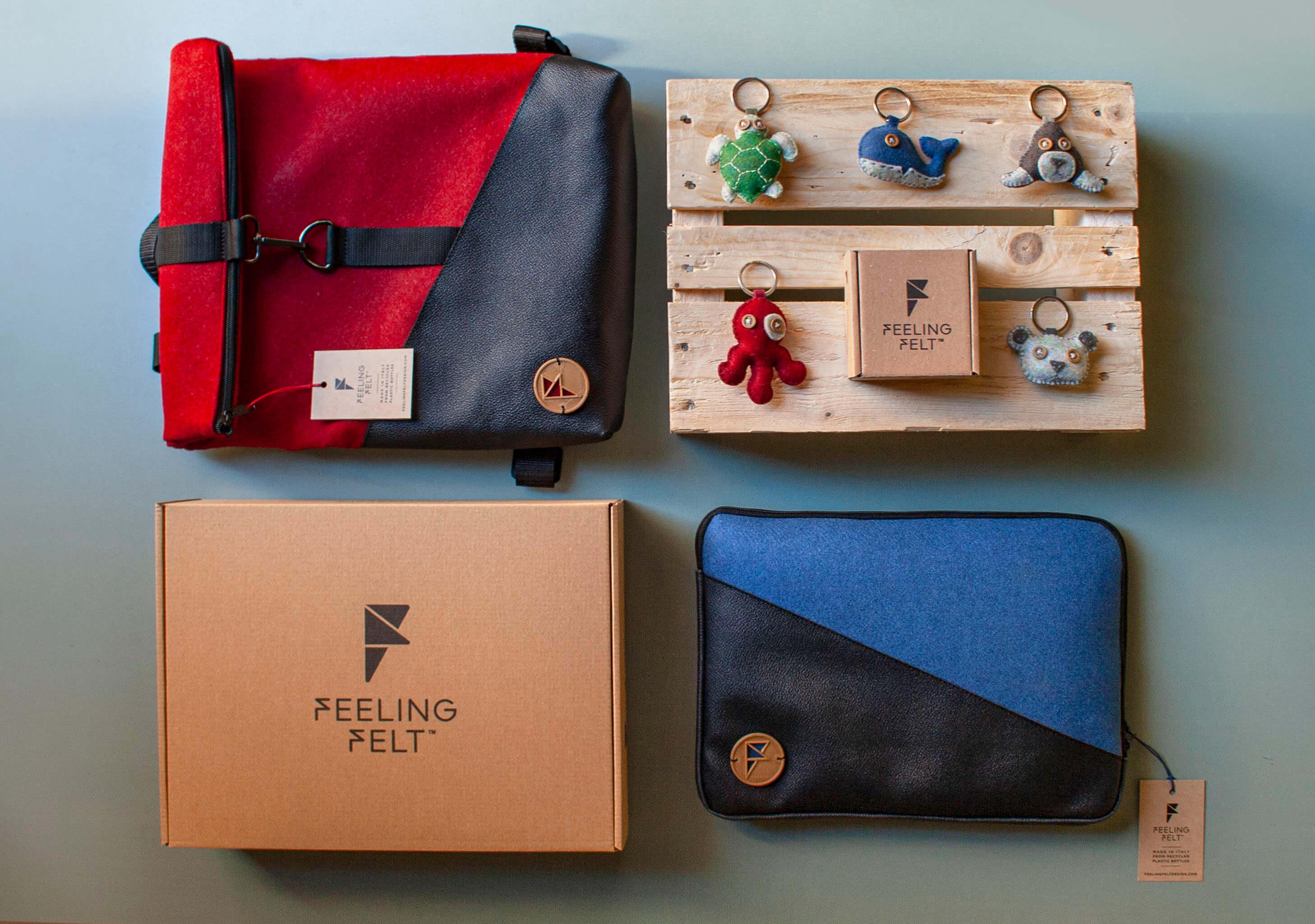 varias mochilas, llaveros y una caja de Feeling Felt