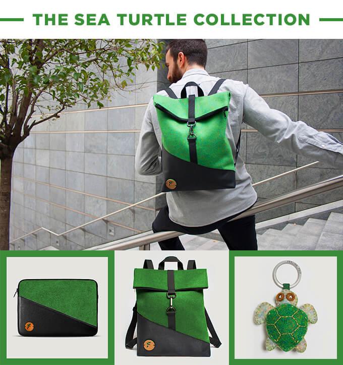 un chico lleva una mochila de color verde y gris