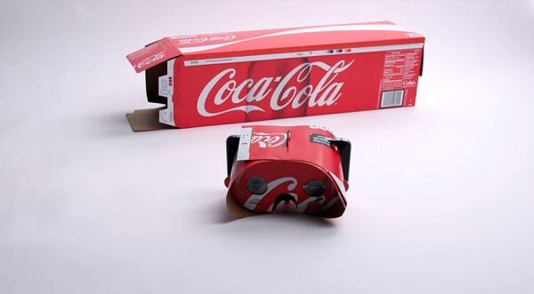 Red coca cola can pack cardboard vr viewer