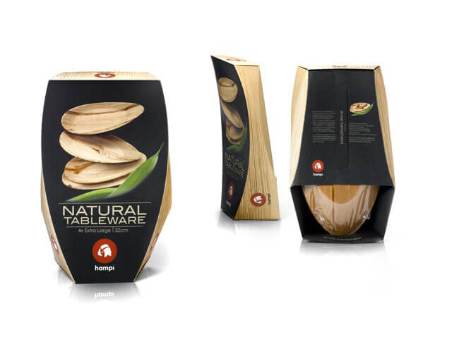 three hampi natural tableware packaging black