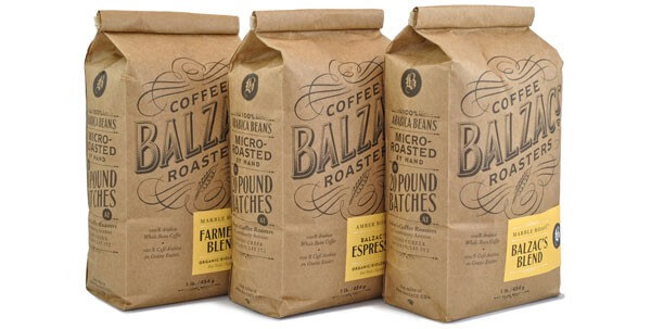 customised coffee bags for balzac coffee