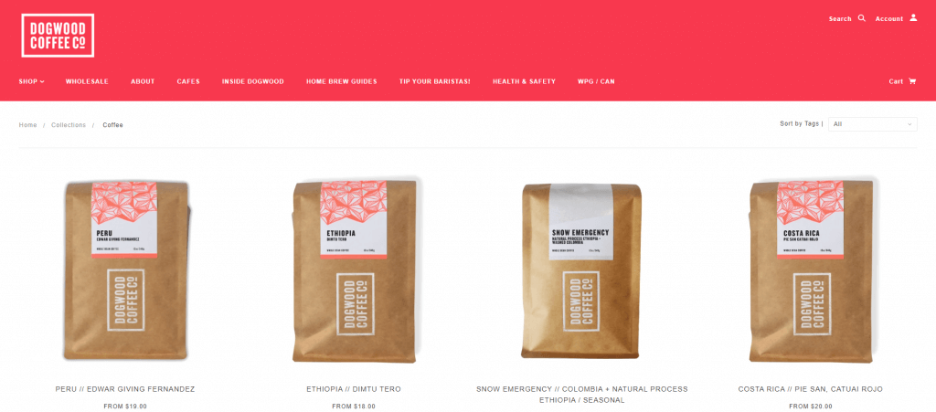 dogwood branding for coffee and website