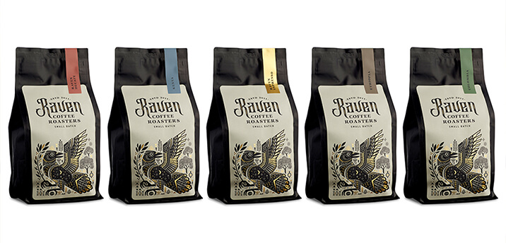 coffee packaging for raven coffee