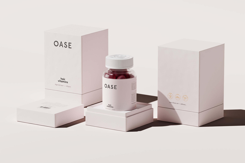 caja con vitaminas veganas de la marca Oase