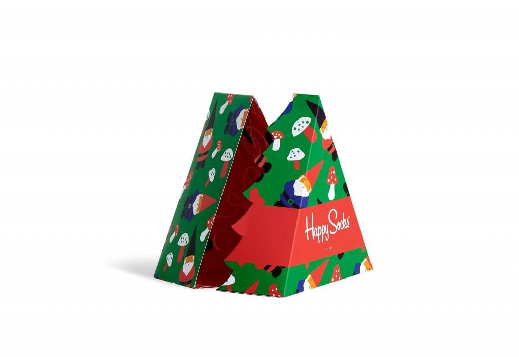 happy socks green and red packaging shaped like a tree