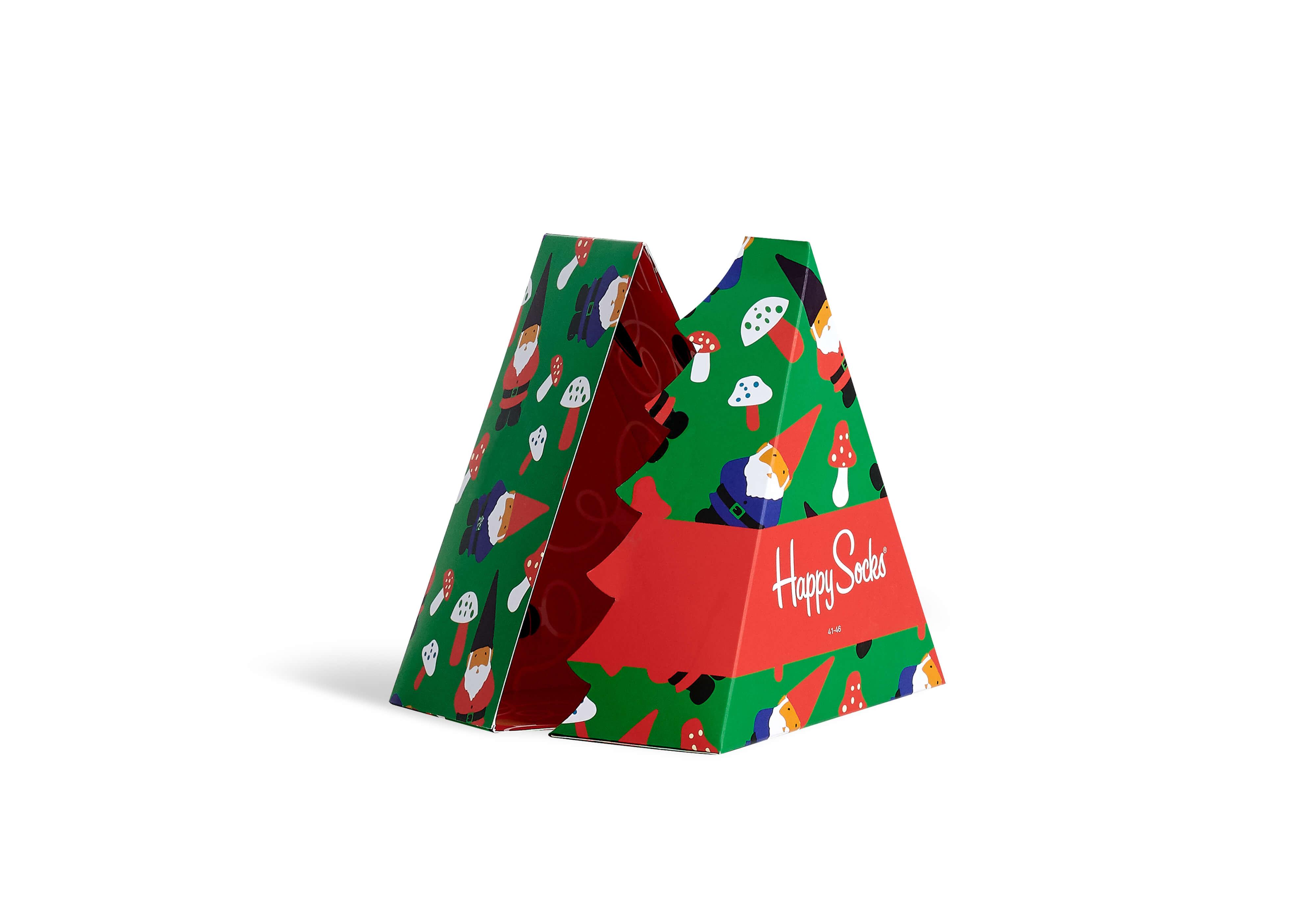 happy socks caja verde y roja de packaging navideño