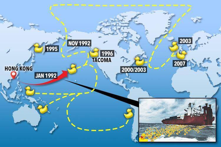Map of the world with yellow rubber duckies path