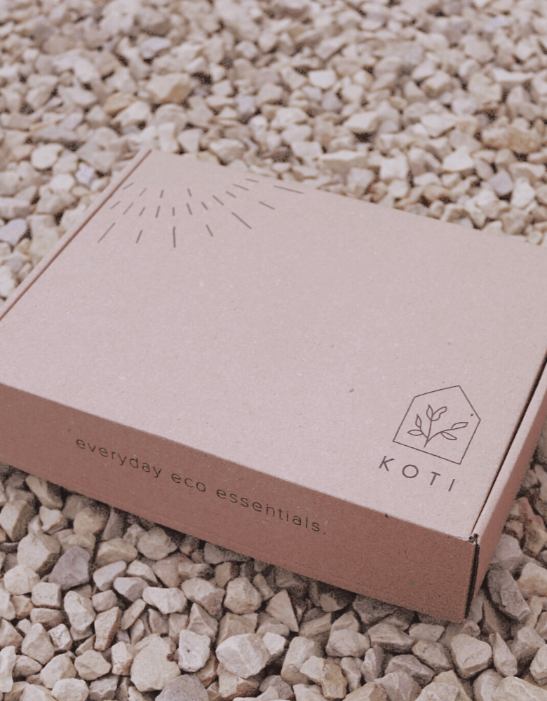 La boîte d'expédition éco choisie par Koti pour son kit zéro déchet