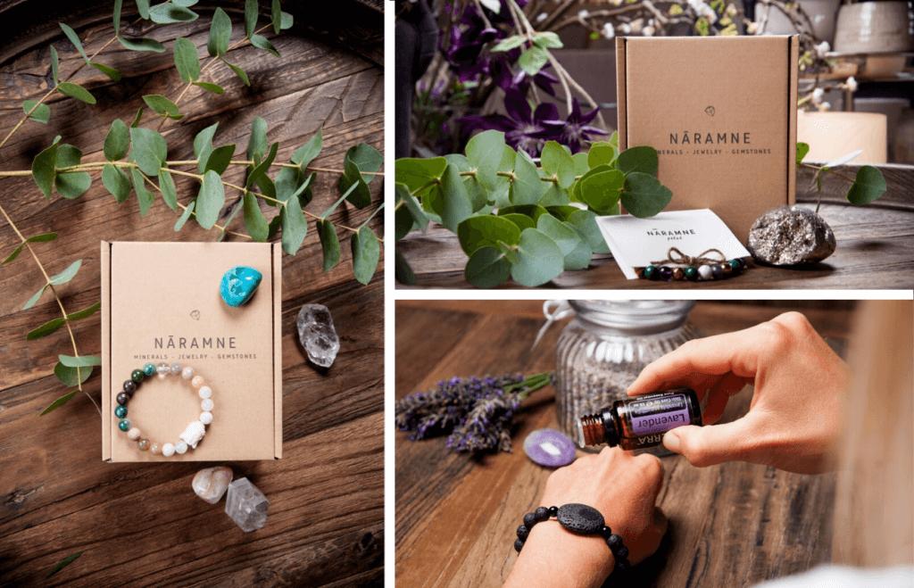 Packaging de Nāramne et bijoux de la marque