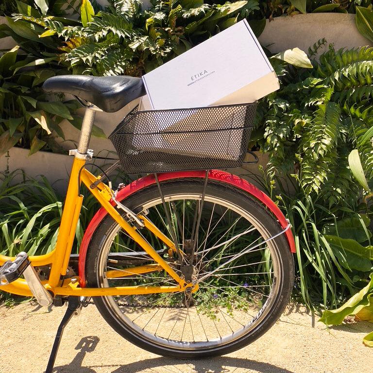 una caja postal dentro de la cesta de una bicicleta