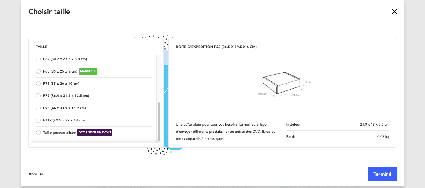 Choix de taille pour un emballage sur mesure