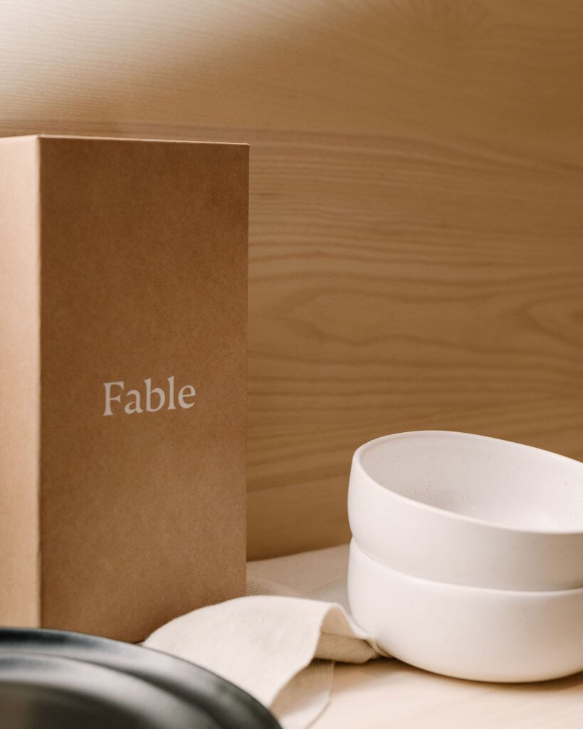 white on kraft mailer boxes from packhelp for fable home