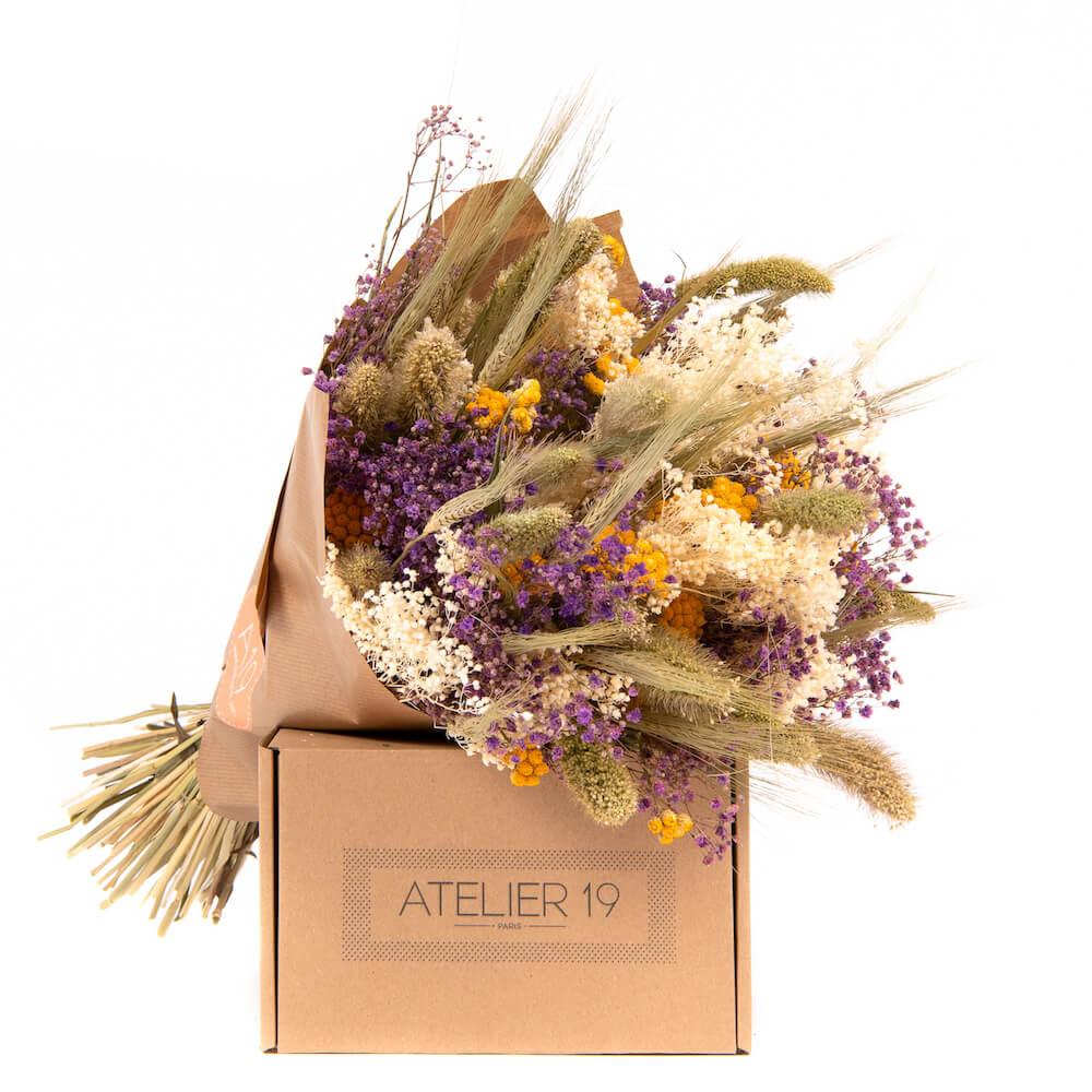 Boîte d'expédition éco et fleurs séchées Atelier 19