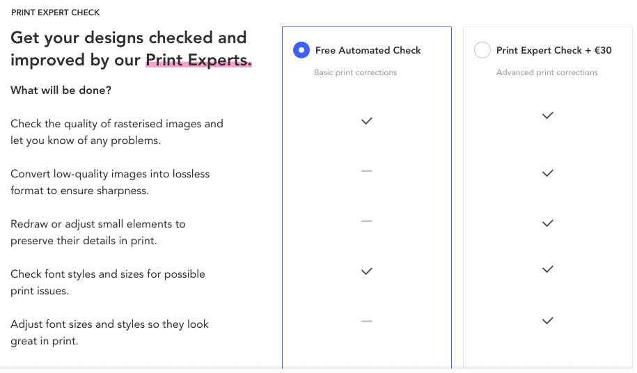 expert print check features