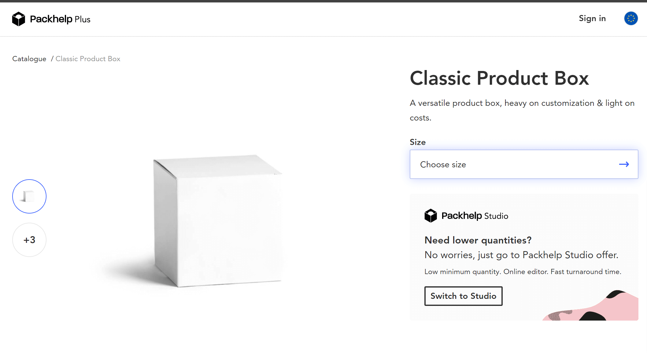 Plus Product Page Screenshot