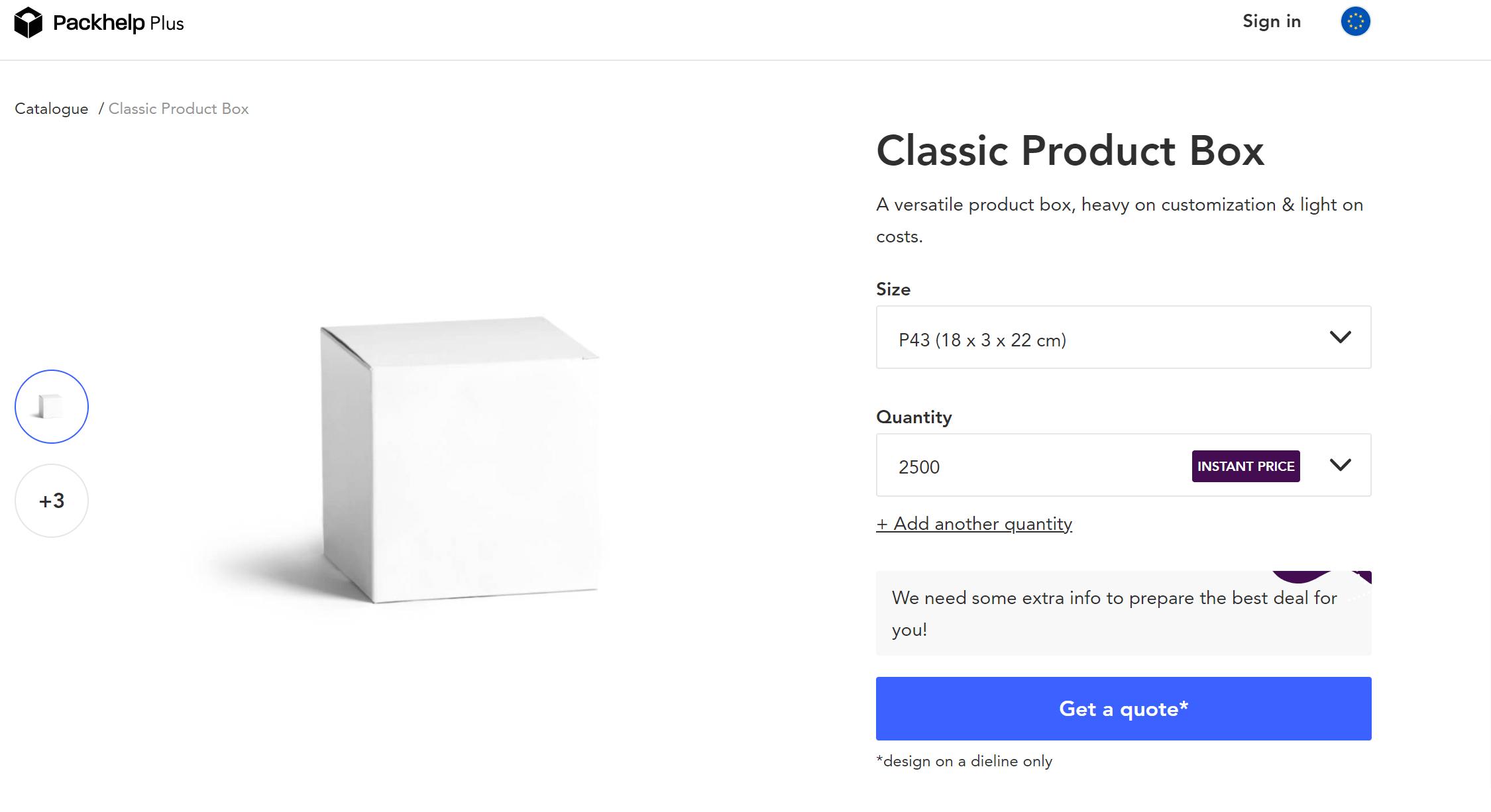 Configuration of Packhelp Plus Product Page