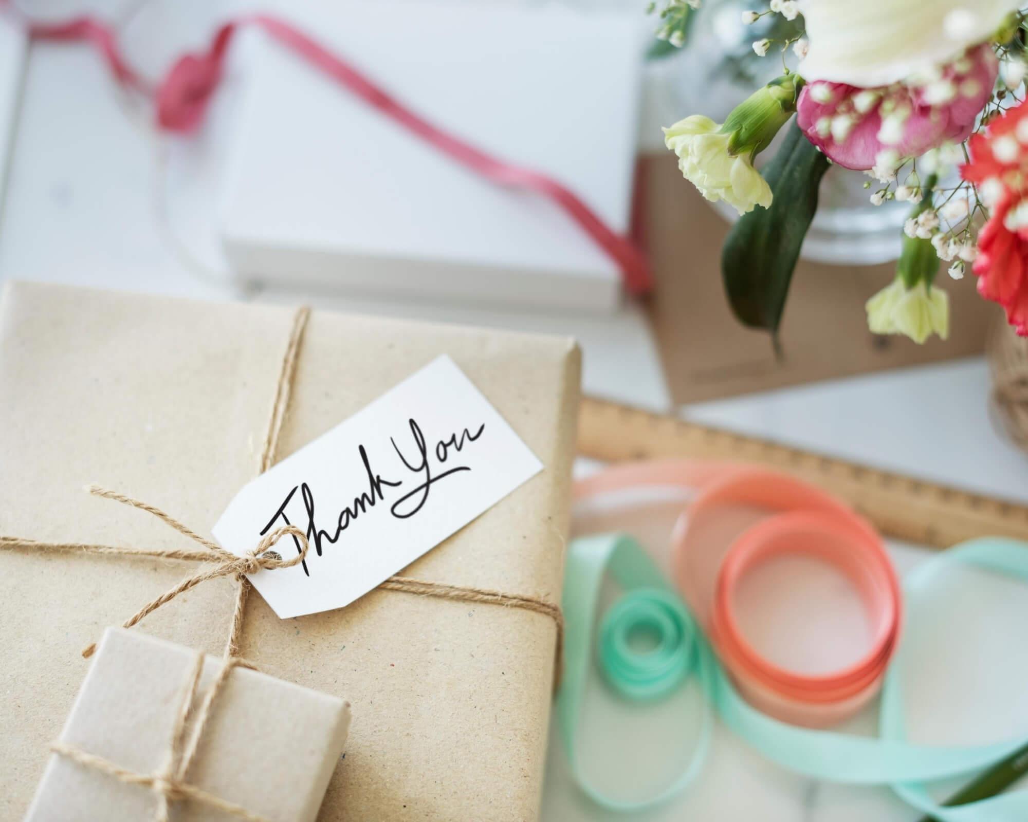 tarjeta de agradecimiento en regalo promocional
