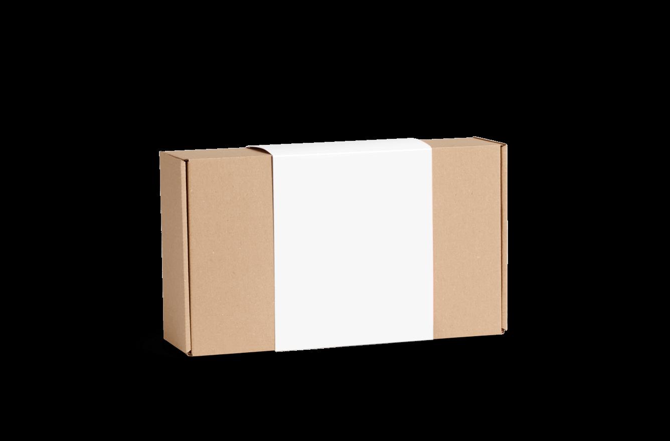 Boîte d'expédition en carton ondulé avec bandeau en papier cartonné