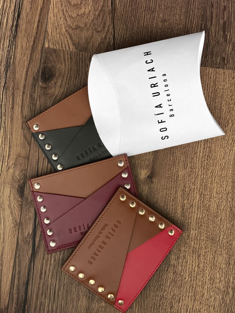 leather products from sofia uriach in a custom pillow product box from packhelp