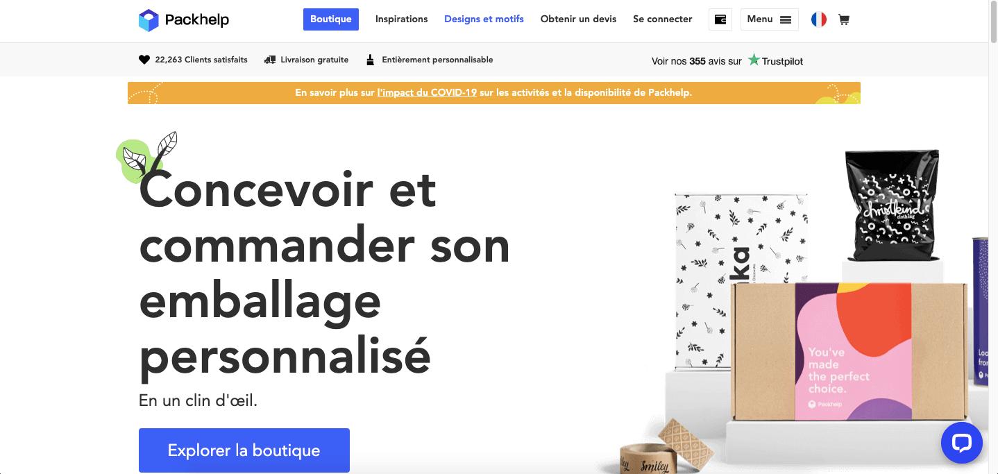 Site e-commerce ergonomique de Packhelp