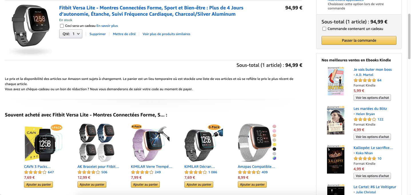 Suggestion de produits complémentaires dans le panier Amazon