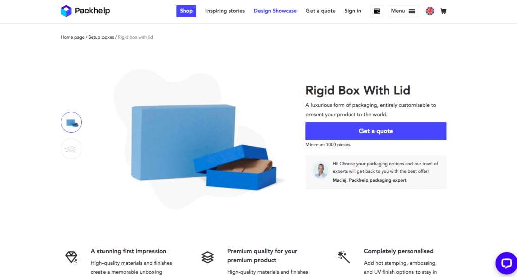 screenshot of ririg box with lid with instant quotes