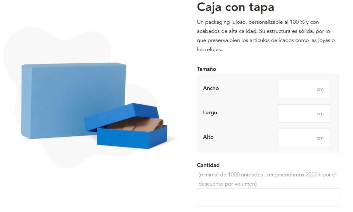 Presupuesto instantáneo de cajas azules con tapa