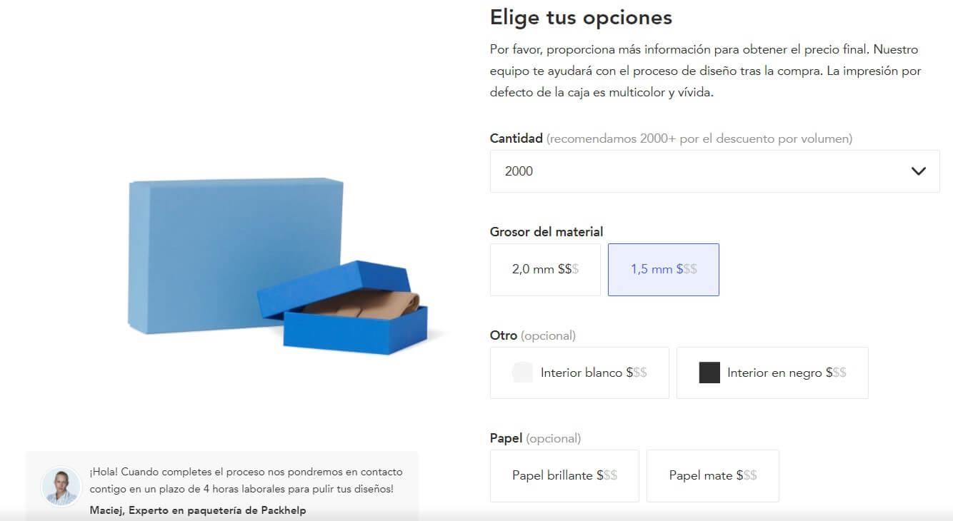 Cajas de cartón de color azul