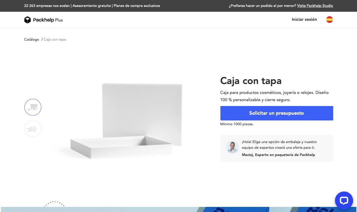 Caja con tapa catálogo plus