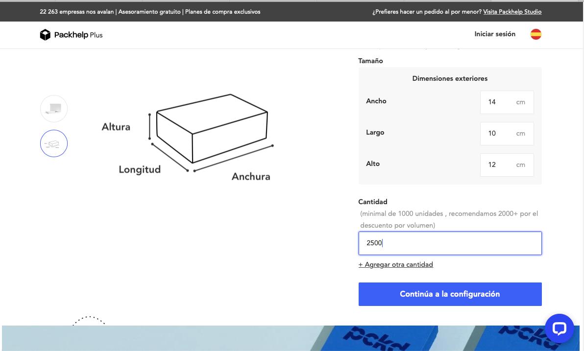 configuración catálogo caja