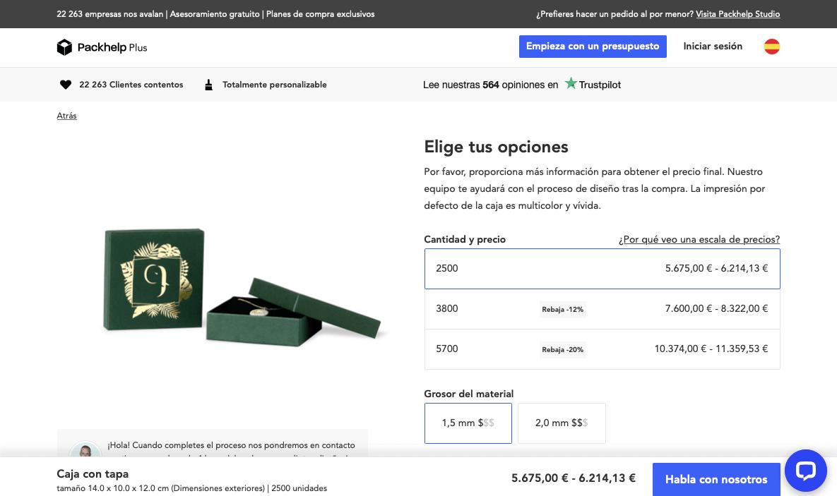 presupuesto instantáneo plus