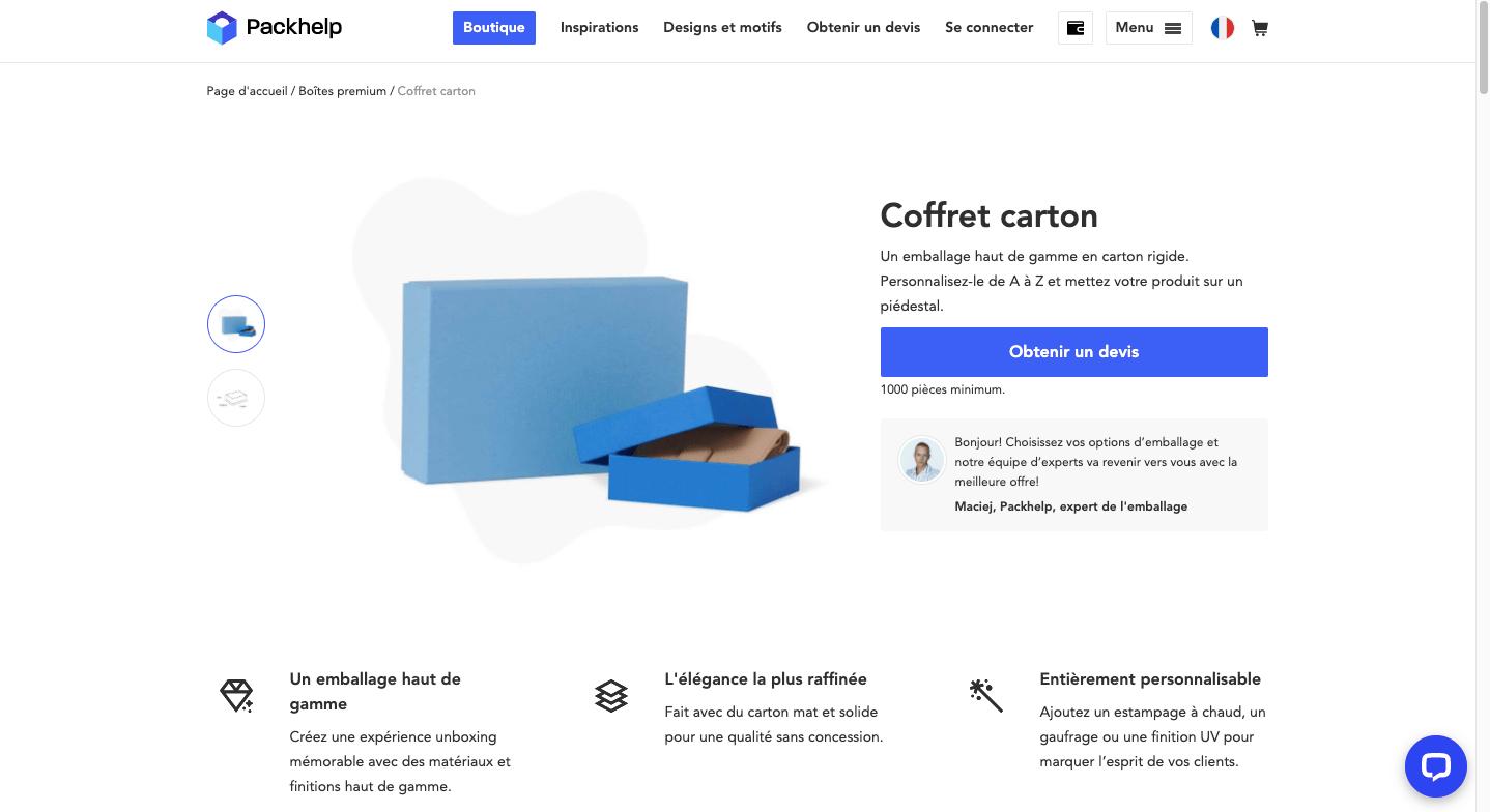 Devis instantané avec le coffret carton