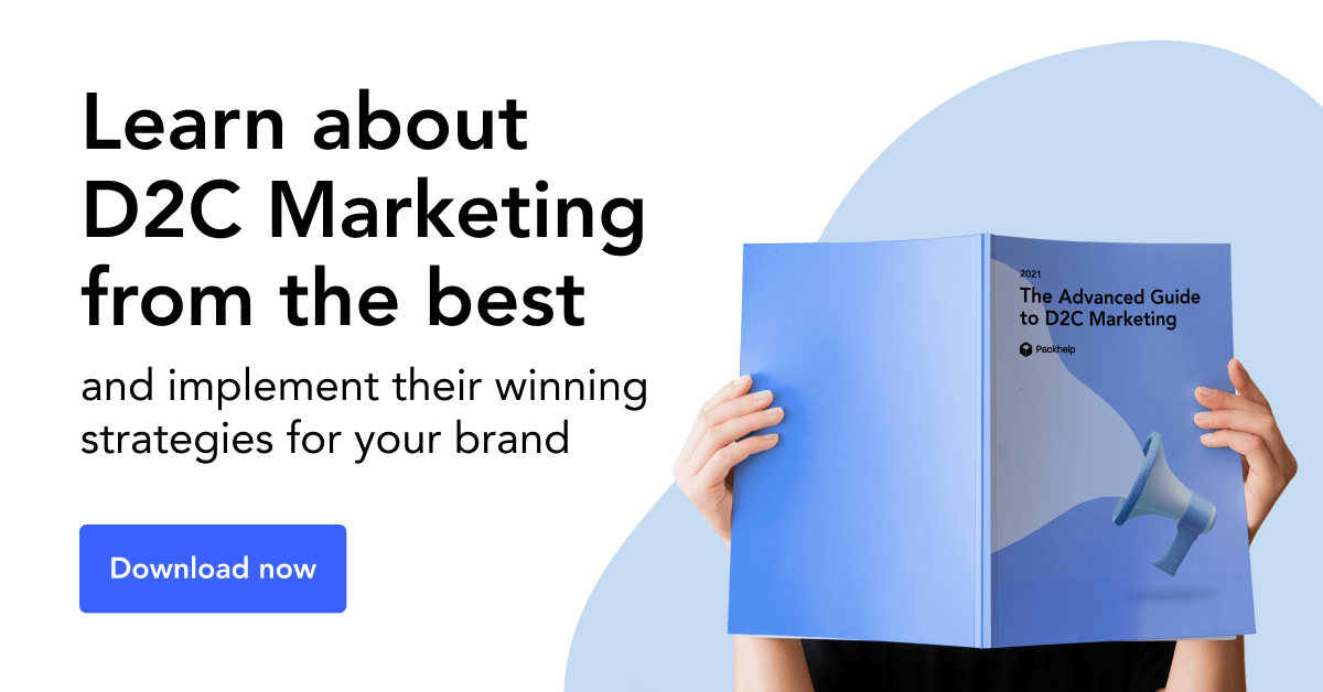 Banner for a guide book on D2C marketing