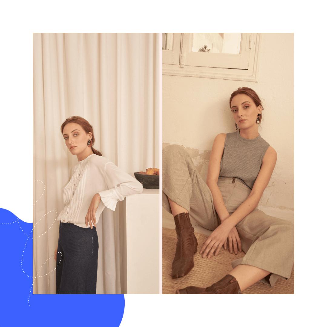 una modelo posa con ropa de la marca SUNAD