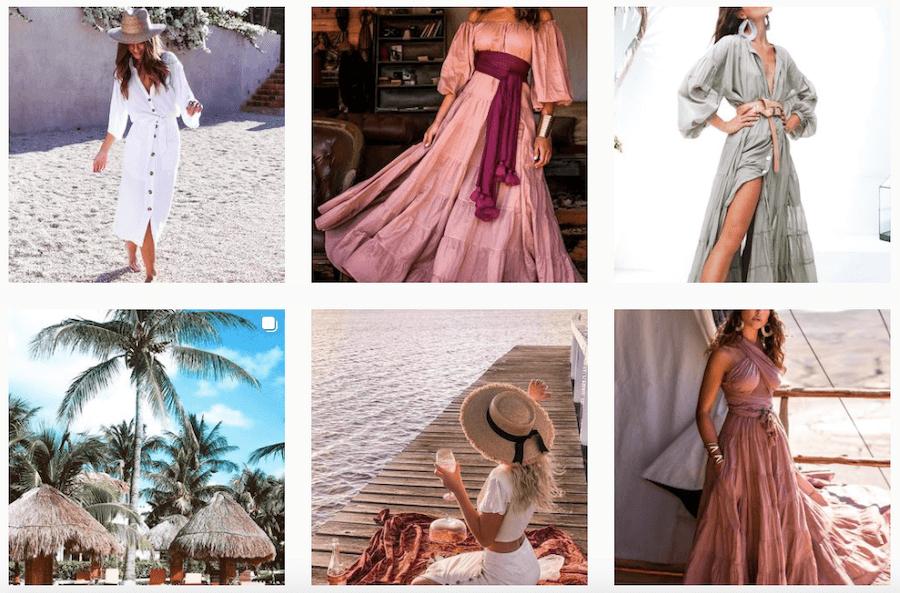 Modèles de vêtements vendus par Black Book Fashion sur Instagram