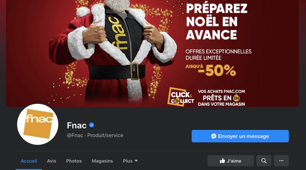 Facebook de la Fnac qui propose du click and collect