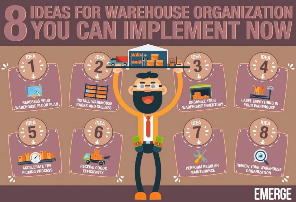 8 warehouse organization ideas infographic from Emerge