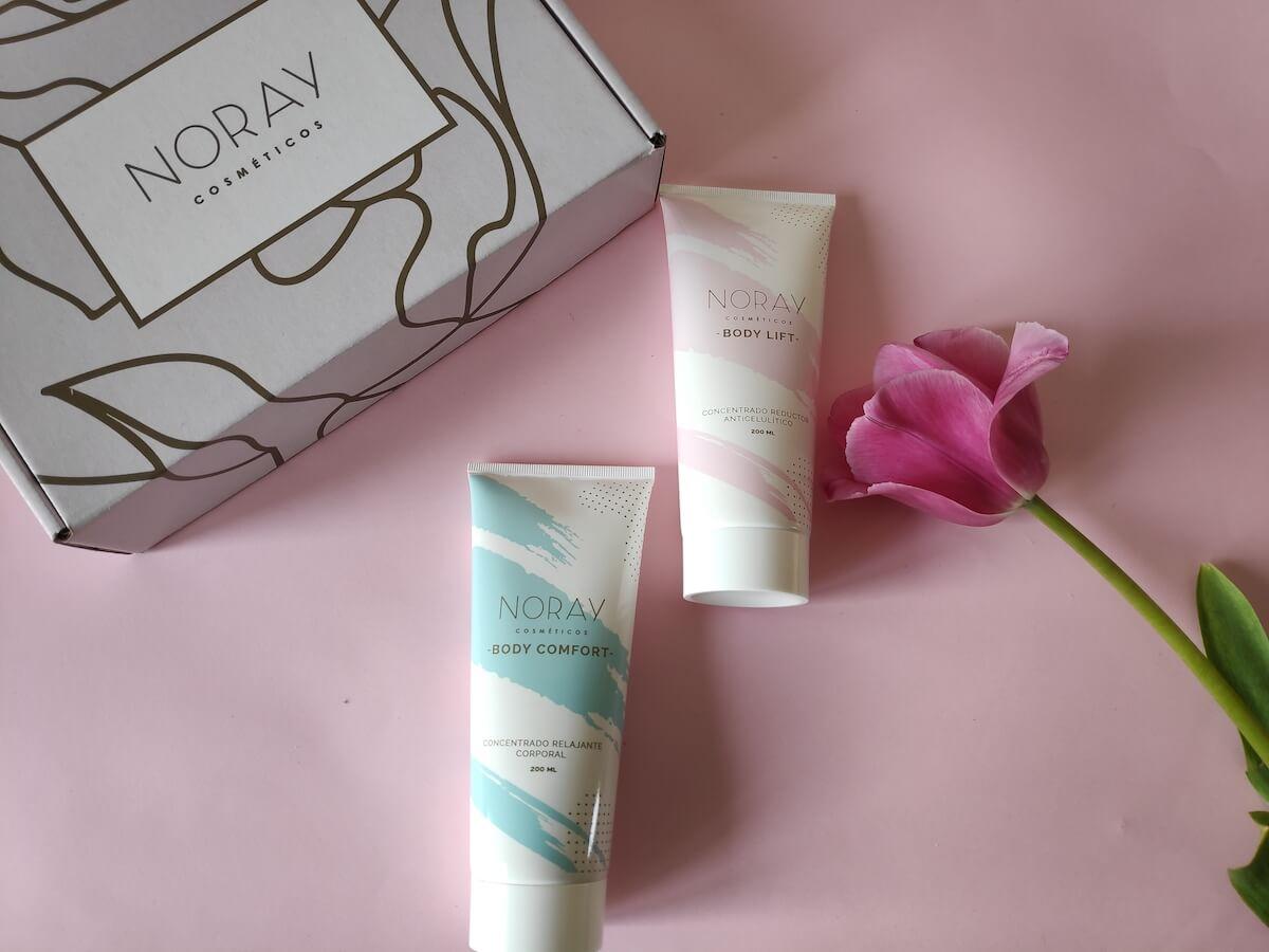 Produits cosmétiques et boîte en carton Noray Cosméticos