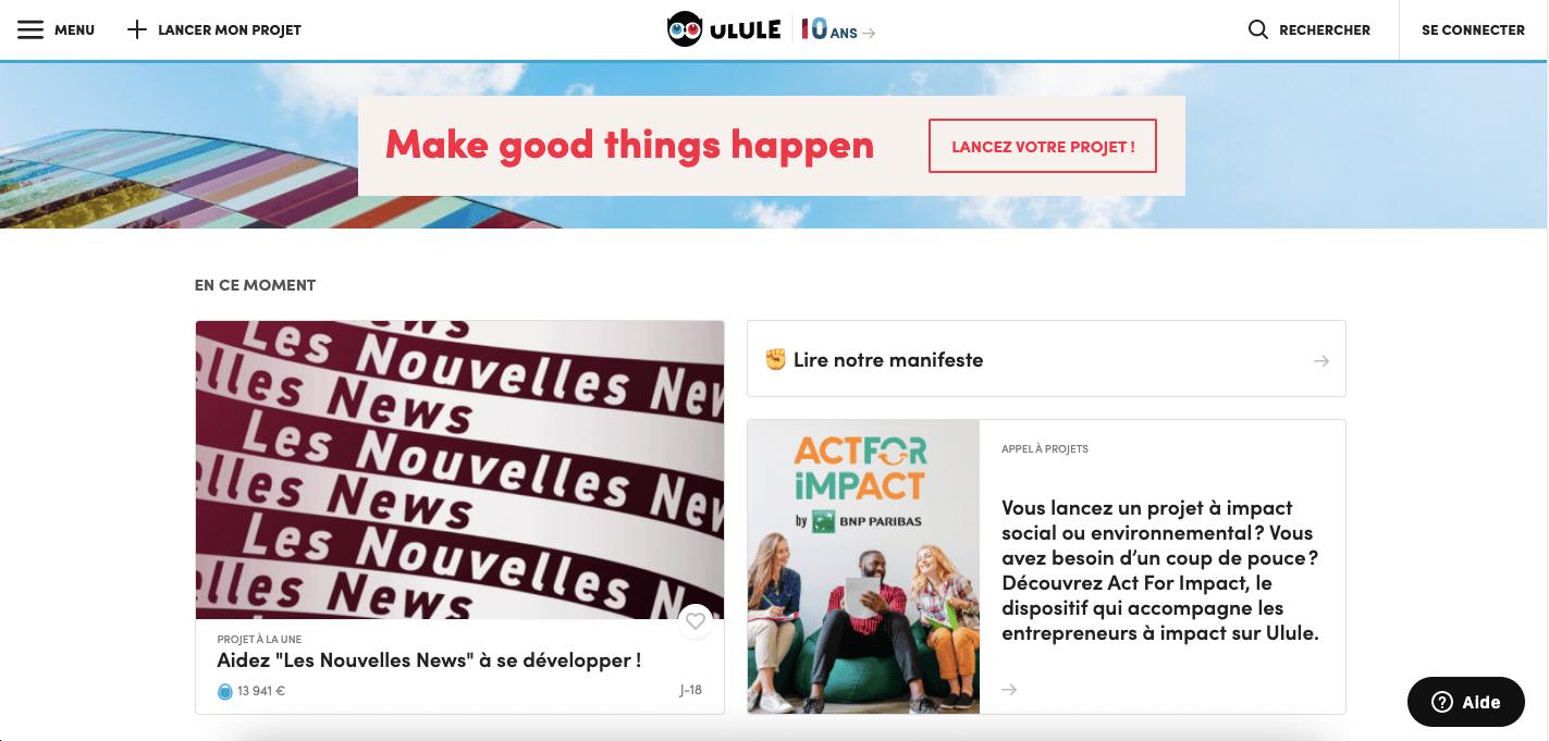 Site de crowdfunding pour lancer son entreprise Ulule