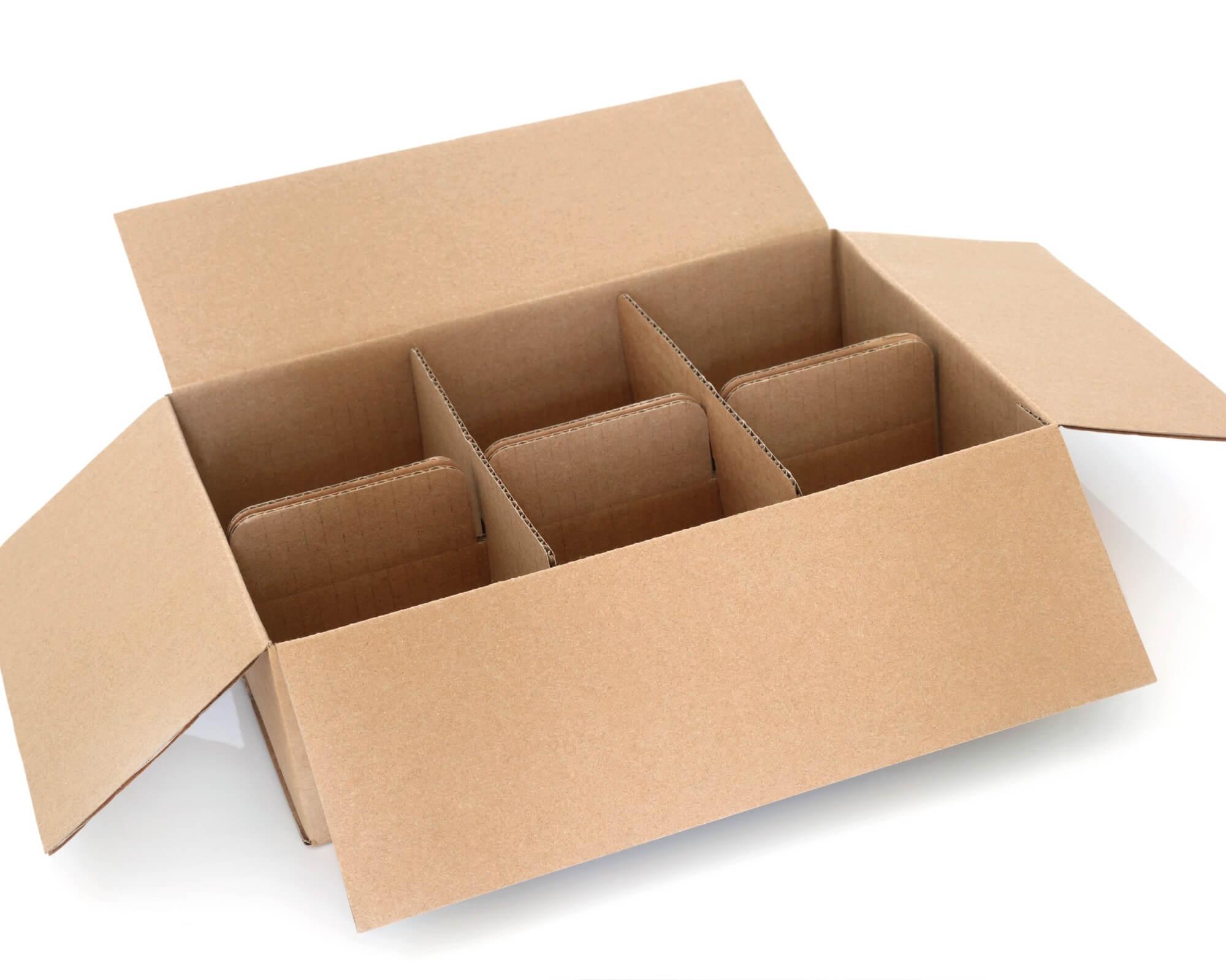 cajas con compartimentos de cartón
