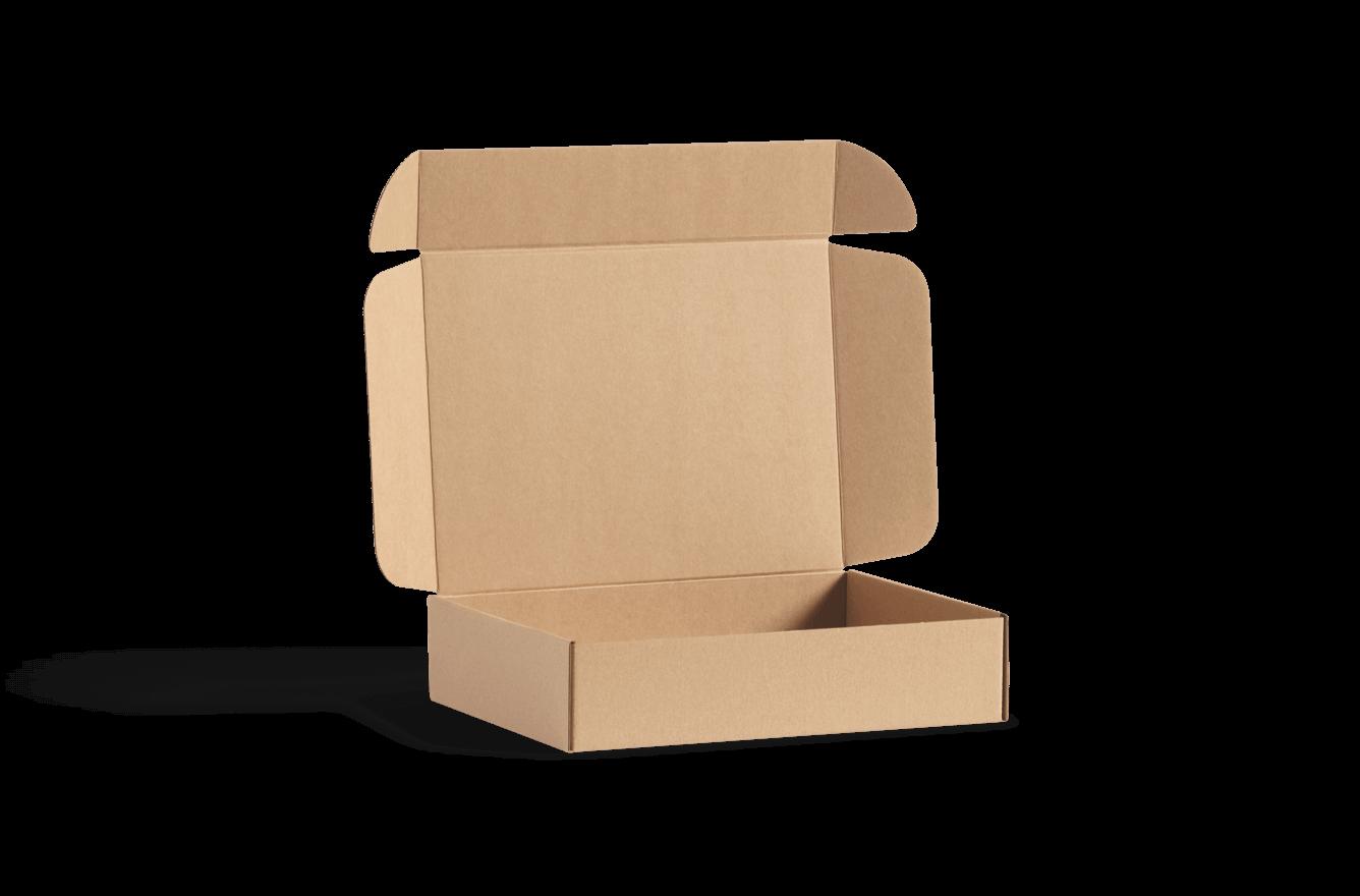 Boîte d'expédition en carton ondulé et couvercle qui se rabat