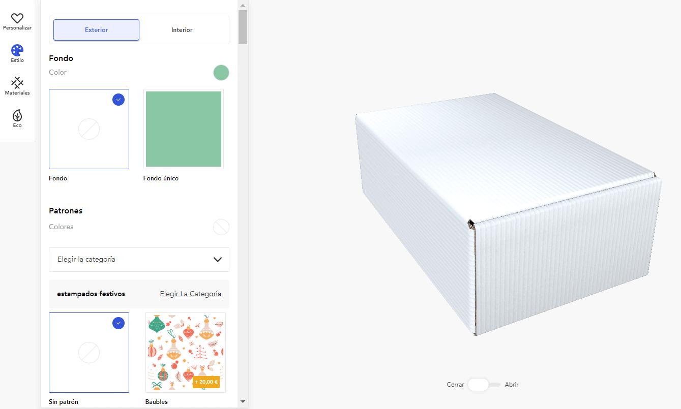 editor de packaging de Packhelp